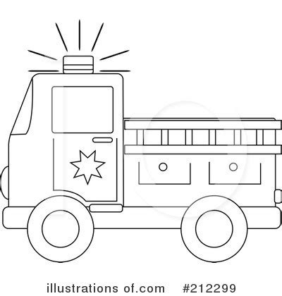 Firetruck Outline by Truck Clipart 212299 Illustration By Pams Clipart