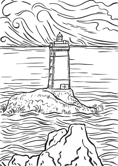 lighthouse printable coastal lighthouse coloring pages for adults coloring pages