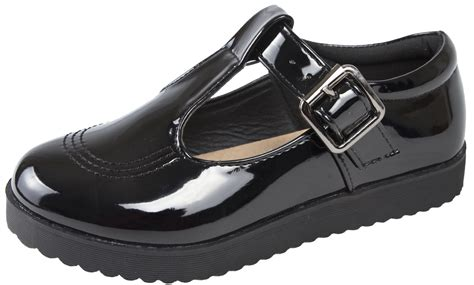 black patent school shoes chunky platforms flat sole