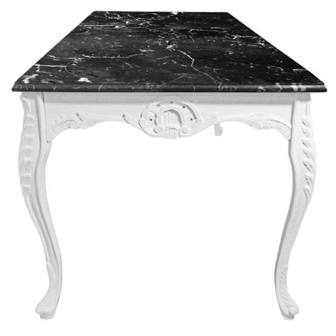 Large Dining Table Wooden Baroque White Lacquered And Black And White Marble Dining Table