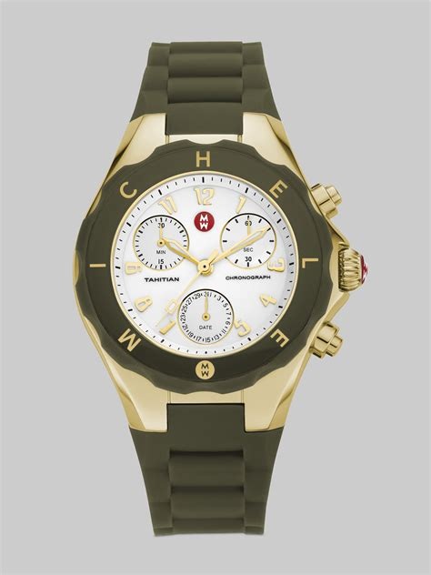 michele tahitian large jelly bean chronograph watcholive