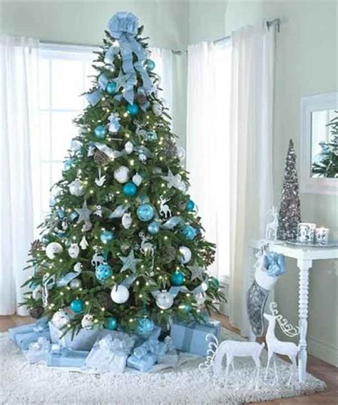 christmas tree decorating theme turquoise snowy white