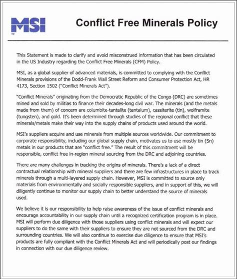 conflict minerals policy template conflict minerals policy statement template