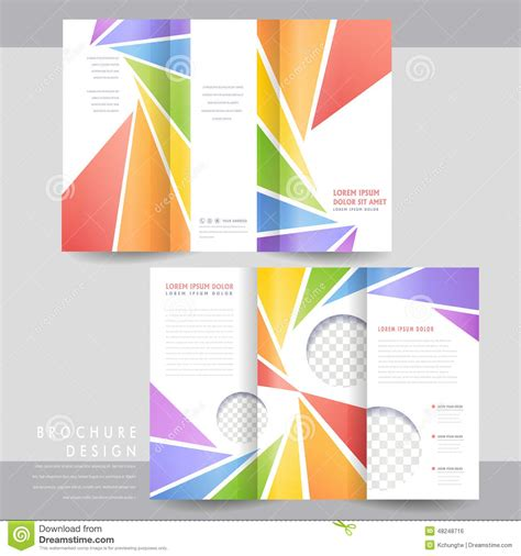 tri fold brochure template design colorful tri fold brochure template design stock vector