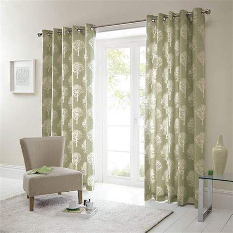Curtains With Green Design Woodland Trees Green Fully Lined Eyelet Ready Made Curtains
