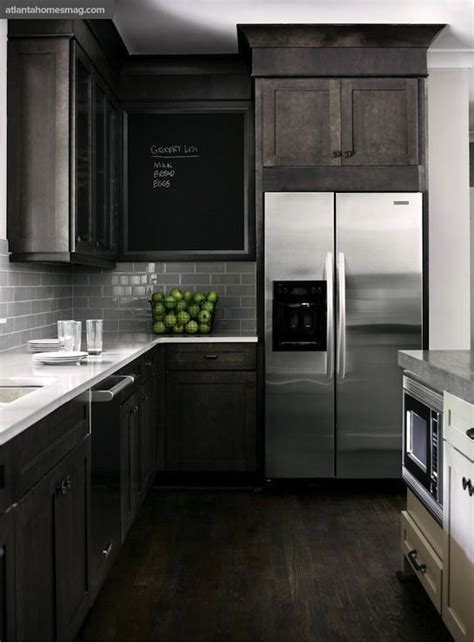 grey brown stained kitchen cabinets smoke glass subway tile stained kitchen cabinets