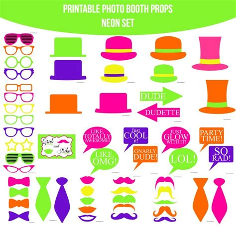 printable neon photo booth props 17 best images about glow in the dark neon party on