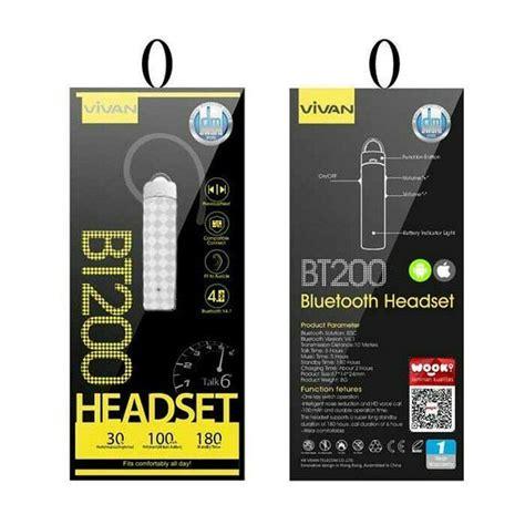 Vivan Bt200 Headset Bluetooth V4 0 vivan bt200 bluetooth headset hitam daftar harga produk