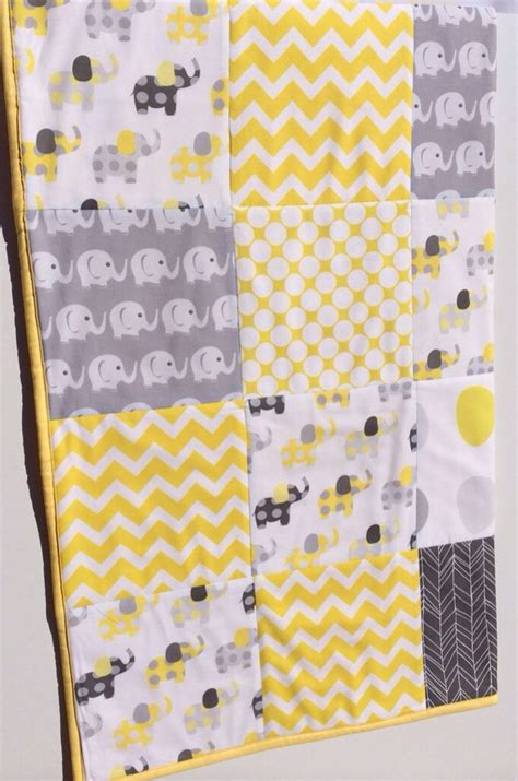 Cot Patchwork Quilt Patterns - baby cot patchwork quilt w yellow and grey elephant