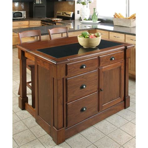 home styles aspen rustic cherry kitchen island