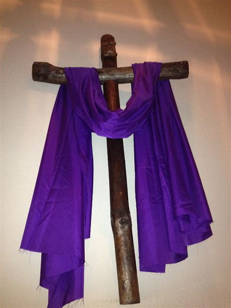 cross with purple drape family at the foot of the cross a peek into our purple