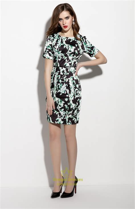Green Print Dress Size L black and green floral print sheath dresses with