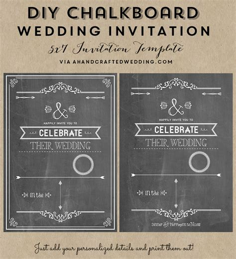 chalkboard invitations template 8 best images of chalkboard wedding invitation printable