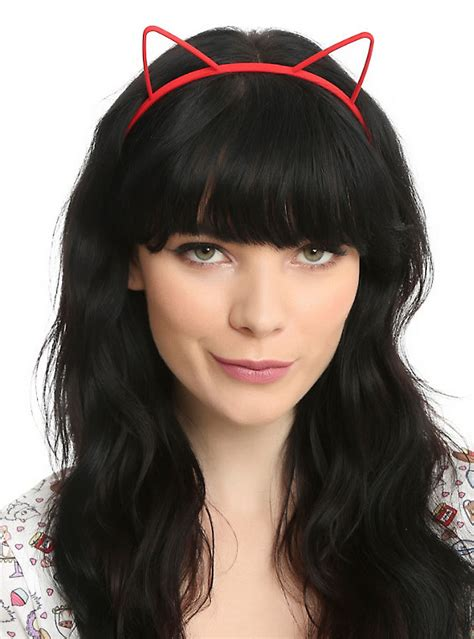 hairstyles with plastic headband red white black plastic cat ear headband set hot topic