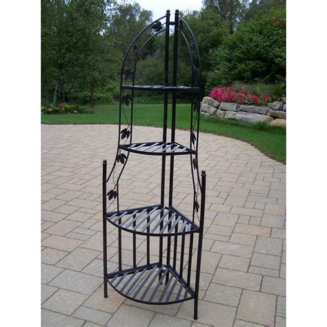 Corner Planter Stand by 4 Tier Wrought Iron Corner Metal Planter Stand In Black