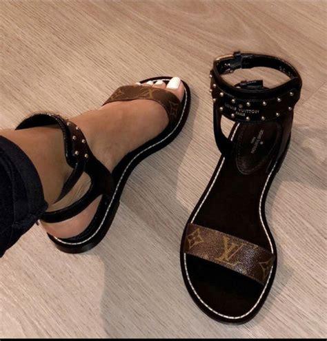 shoes louis vuitton black brown sandals