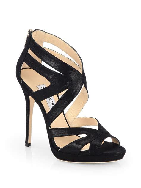 jimmy choo platform sandals jimmy choo collar metallic suede platform sandals in