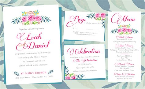 layout of a wedding card floral wedding invitations printing by penny lane