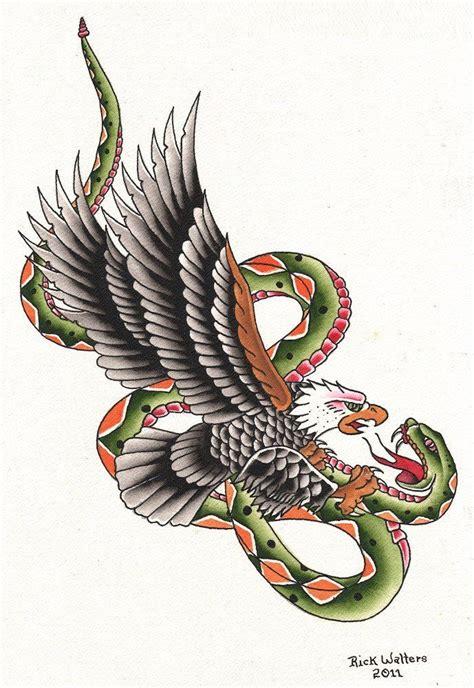 tattoo flash eagle snake eagle by rick walters serpent tattoo flash canvas