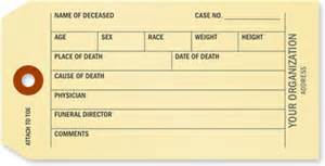 morgue toe tags coroner amp funeral toe tags