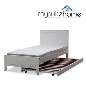 Single Bed Frame Dallas Solid Rubber Wood Mdf White Single King Single Bed