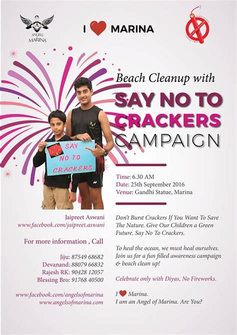 Say No To Crackers Essay In by Cleanup With Say No To Crackers Caign At Gandhi Statue Marina Chennai