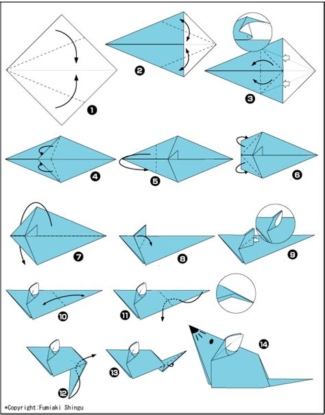 Origami Computer Mouse - origami mouse diagram from paper to