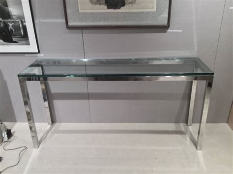 glass sofa tables sale chromed steel and glass console table for sale at 1stdibs