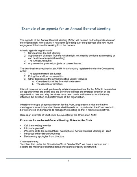 agenda for agm template exle of an agenda for an annual general meeting free
