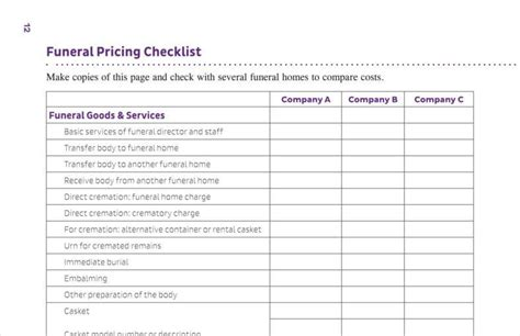 29 Price List Exles Free Premium Templates Funeral Checklist Template
