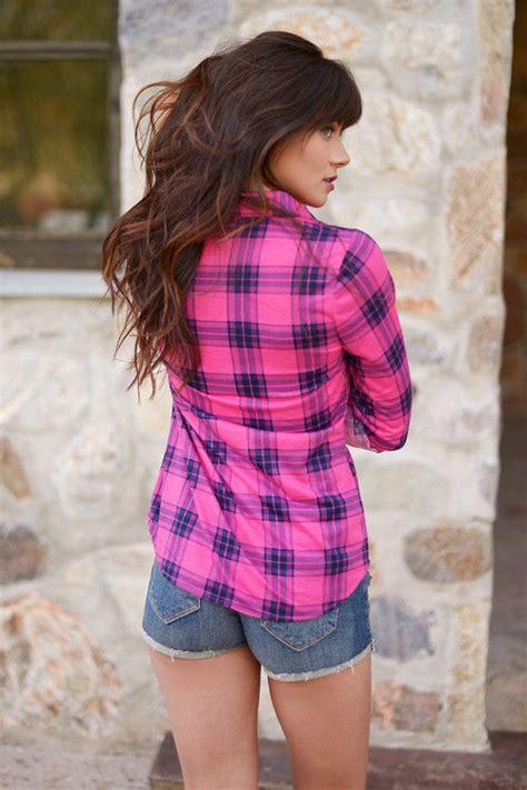 pink plaid shirt  denim shorts pictures   images  facebook tumblr pinterest