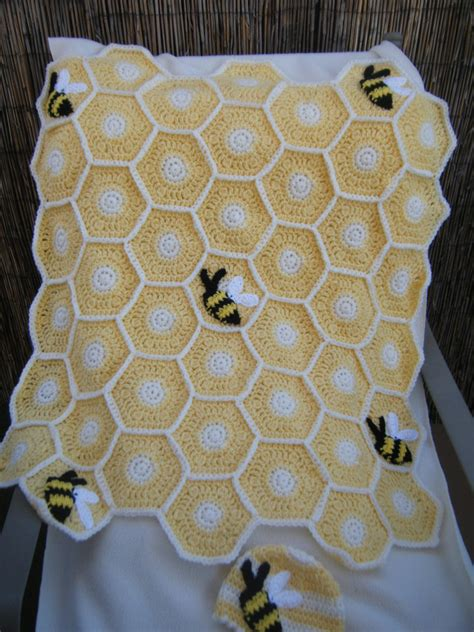 Aza Babybee Blanket Printed 1 crocheted sweet as a honey bee baby blanket with hat made to
