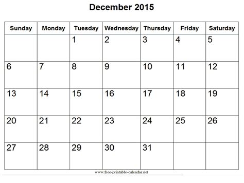 Printable Free December 2015 Calendar | image gallery december calender 2015