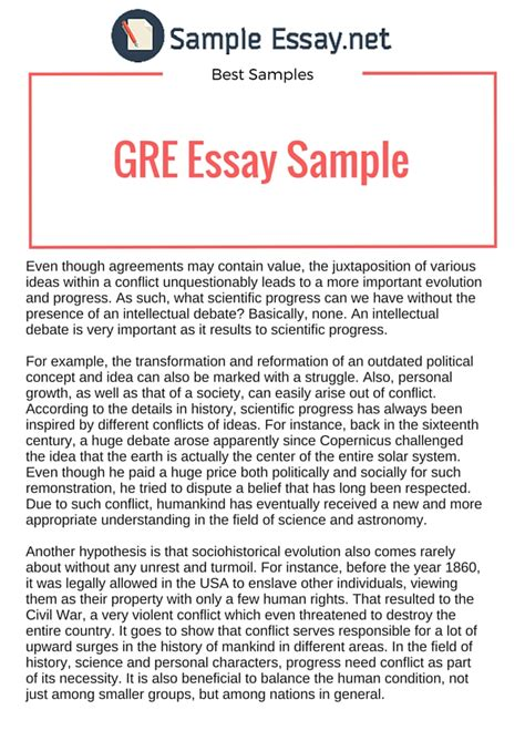 Gre Essay Exles by Issue And Argument Gre Essay Sle Sle Essay