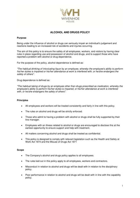 alcohol and drug abuse policy template 5 policy templates pdf doc free