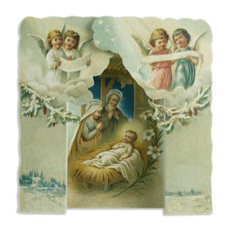 printable nativity scene christmas cards 3d standing angels and nativity scene christmas card
