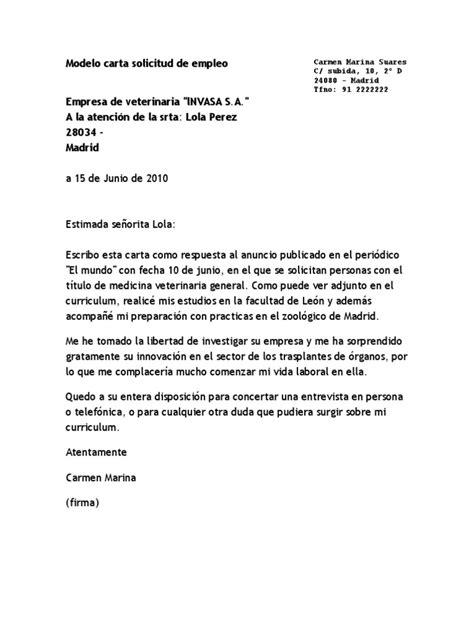 Carta De Solicitud De Empleo Para Que Sirve Modelo Carta Solicitud De Empleo Docx
