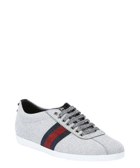 gucci sneaker gucci silver glitter fabric web stripe low top sneakers in