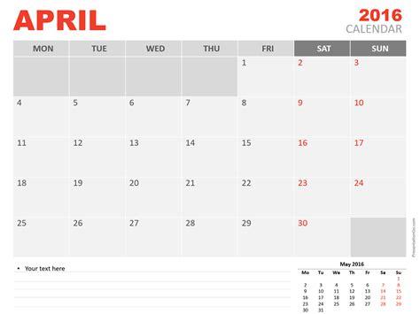 calendar layout april 2016 april 2016 powerpoint calendar presentationgo com