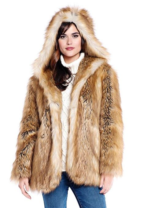Faux Fur by Gold Fox Hooded Faux Fur Jacket Womens Faux Fur Jackets