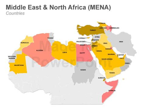 middle east africa map vector mena powerpoint map editable ppt slides