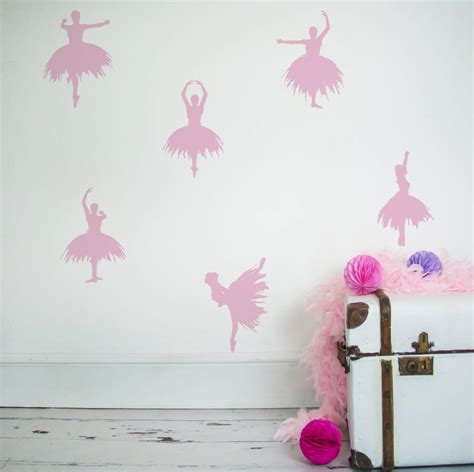 ballerina wall stickers set of six ballerina wall stickers by nutmeg