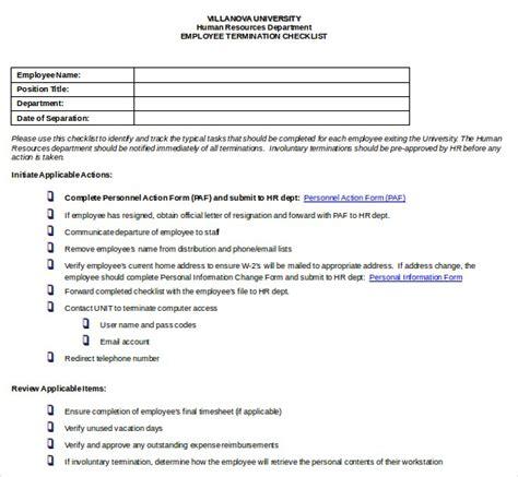 employee resignation checklist template best business