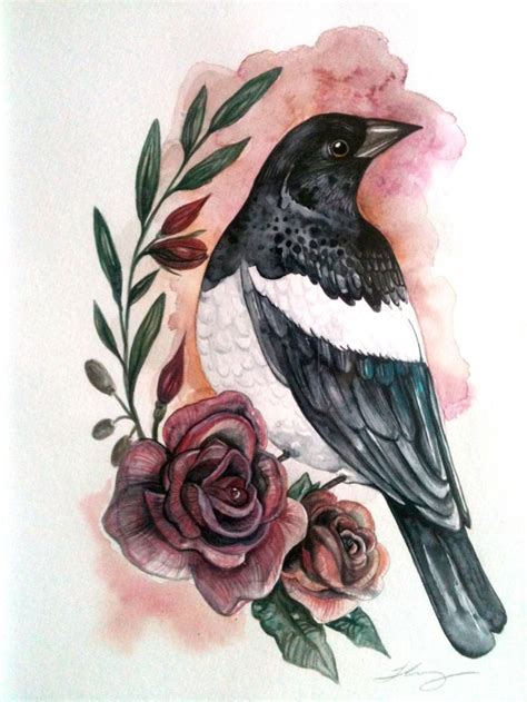 magpie tattoo design 412 best magpie black birds images on