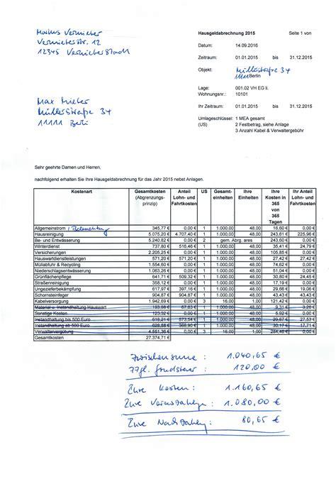 Nebenkosten Was Enthalten by Nebenkostenabrechnung Eigentumswohnung Nebenkosten De