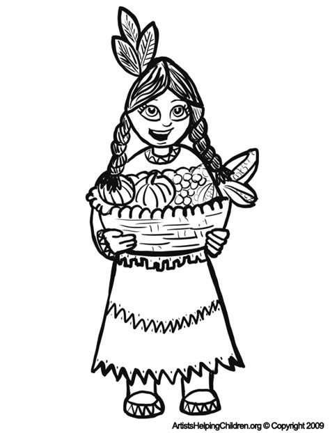 indian basket coloring page thanksgiving indian girls coloring pages printouts
