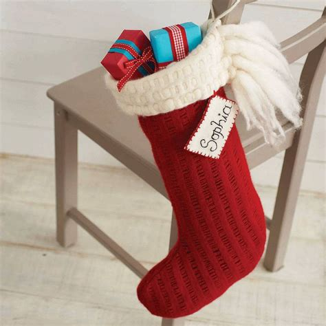 images of knitted christmas stockings personalised knitted christmas stocking