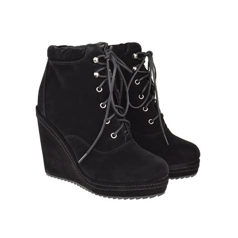 black lace up wedge booties oasis fashion