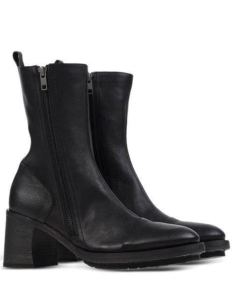 demeulemeester boots demeulemeester block heeled leather ankle boots in