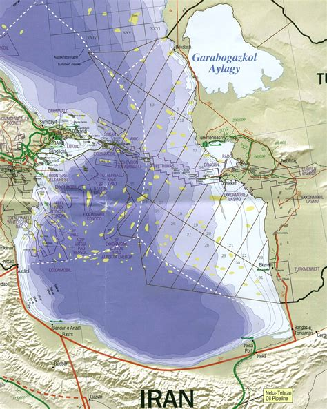 middle east map caspian sea map and gas fields and gas pipelines